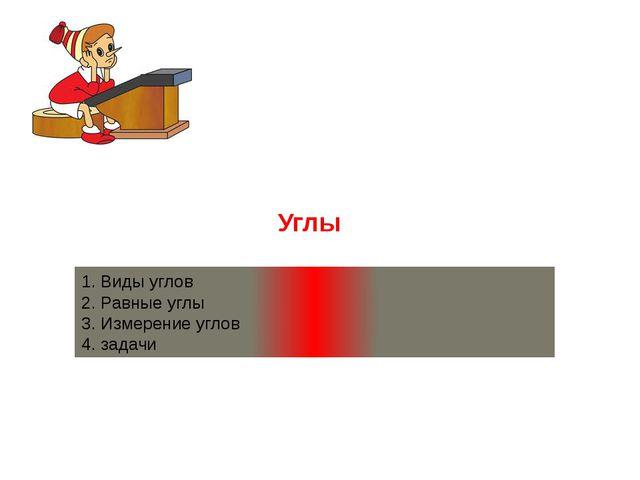 1. Виды углов 2. Равные углы 3. Измерение углов 4. задачи Углы
