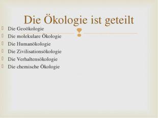 Die Geoökologie Die molekulare Ökologie Die Humanökologie Die Zivilisationsök
