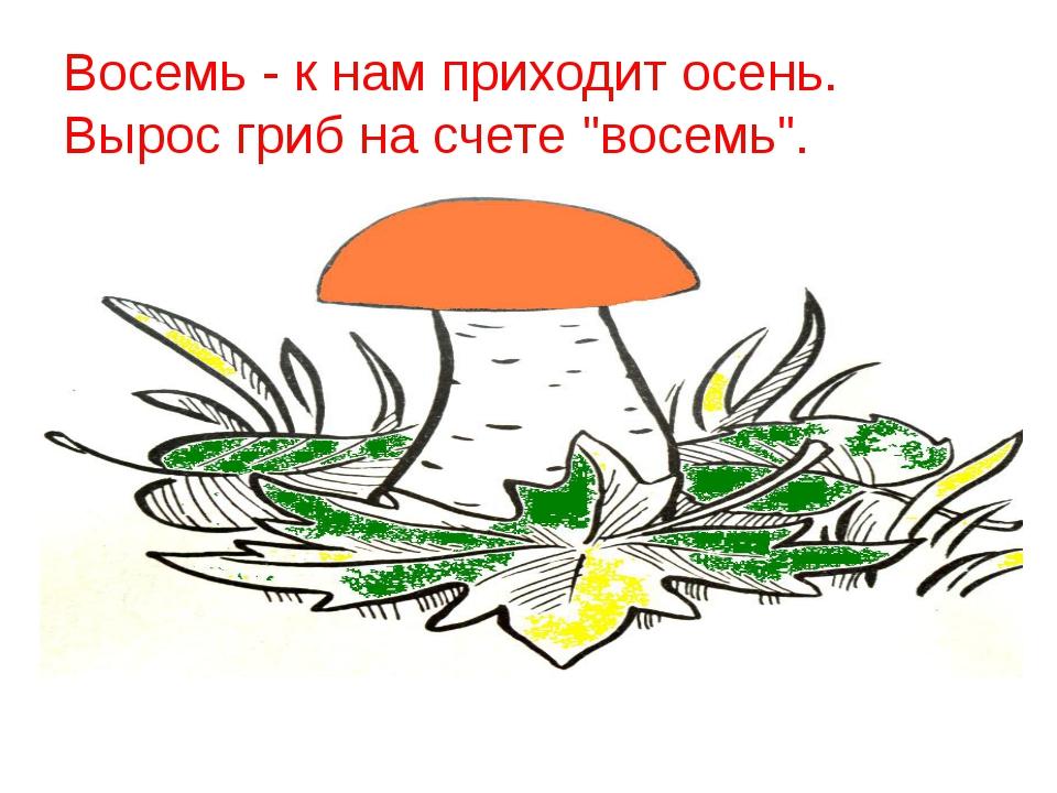 """Восемь - к нам приходит осень. Вырос гриб на счете """"восемь""""."""