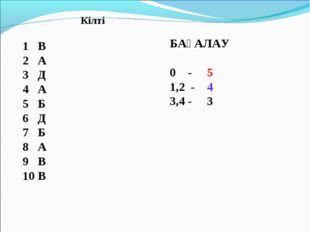 Кілті 1 В 2 А 3 Д 4 А 5 Б 6 Д 7 Б 8 А 9 В 10 В БАҒАЛАУ 0 - 5 1,2 - 4 3,4 - 3