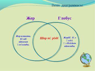 Жер Глобус Венн диаграммасы: Жердің дәл үлгісі. Өз білігінен айналады. Шар т