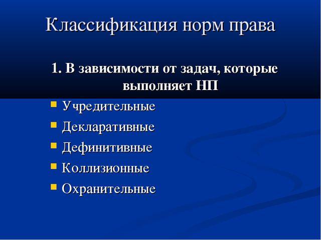 Классификация норм права 1. В зависимости от задач, которые выполняет НП Учре...