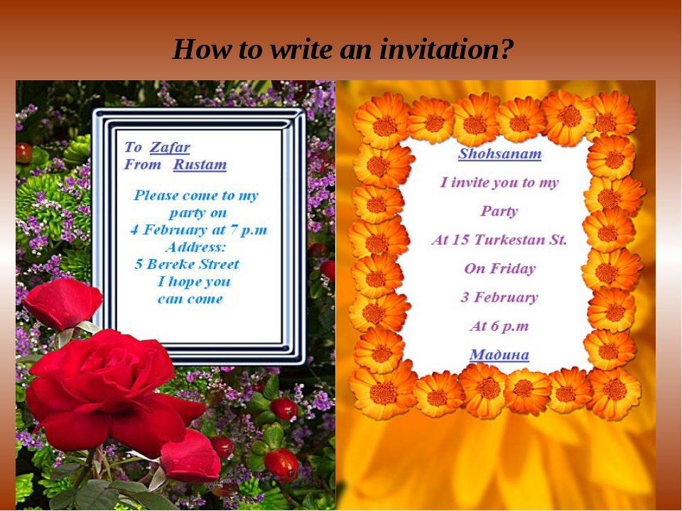 Writing Grammar How to write an invitation?