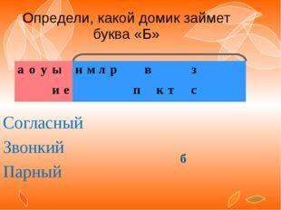 Определи, какой домик займет буква «Б» Согласный Звонкий Парный б а о у ы н