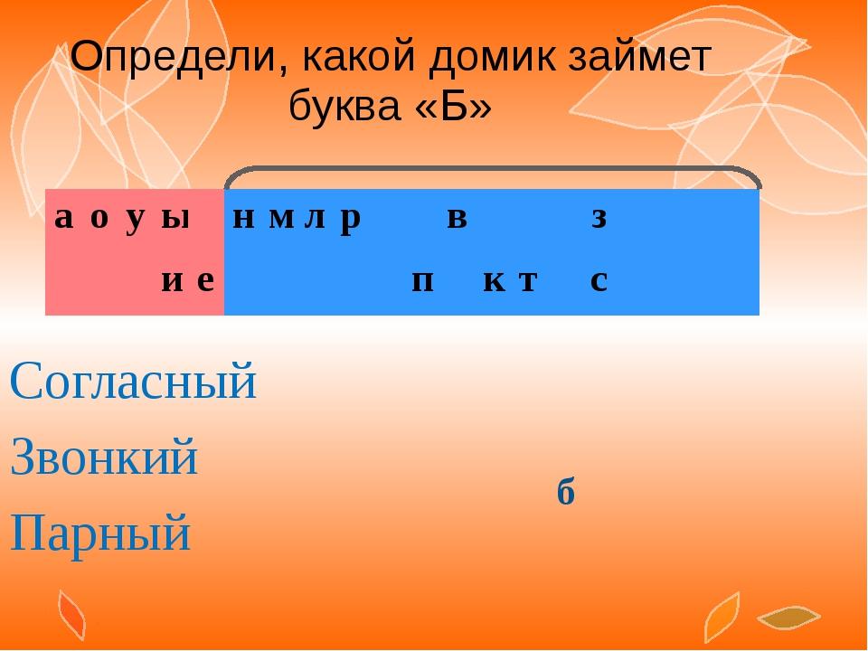 Определи, какой домик займет буква «Б» Согласный Звонкий Парный б а о у ы н...