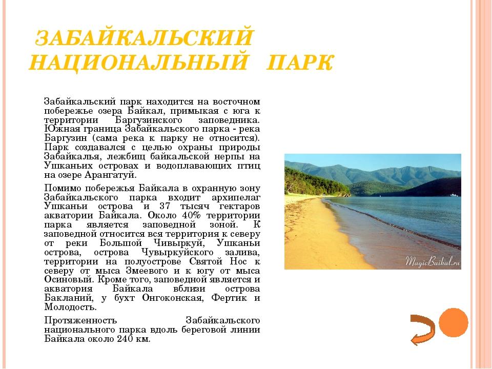 ЗАБАЙКАЛЬСКИЙ НАЦИОНАЛЬНЫЙ ПАРК Забайкальский парк находится на восточном п...