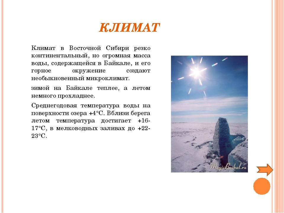 КЛИМАТ Климат в Восточной Сибири резко континентальный, но огромная масса в...