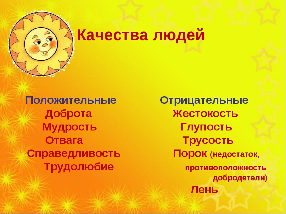 Качества людей Положительные Отрицательные Доброта Жестокость Мудрость Глупо...