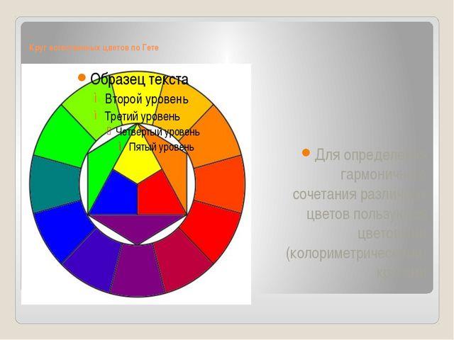 Круг естественных цветов по Гете Для определения гармоничного сочетания разли...