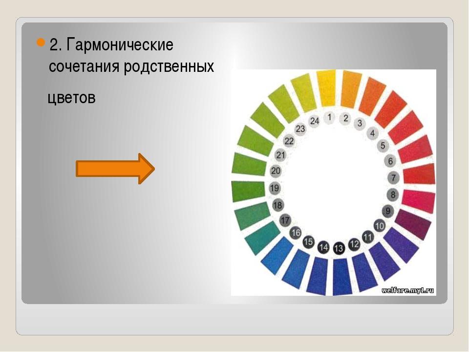 2. Гармонические сочетания родственных цветов