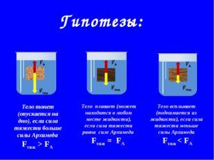 Гипотезы: Тело тонет (опускается на дно), если сила тяжести больше силы Архим
