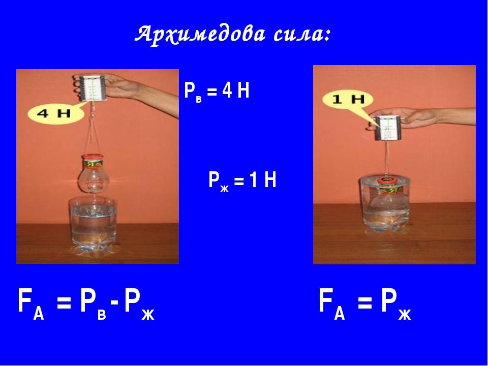 Архимедова сила: Рв = 4 Н Рж = 1 Н FА = Рв - Рж FА = Рж
