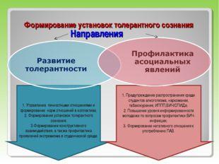 Направления Формирование установок толерантного сознания 1. Управление личнос