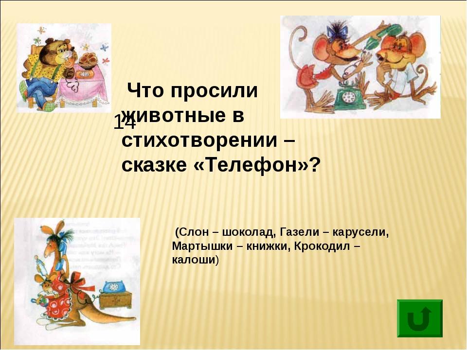 14 Что просили животные в стихотворении – сказке «Телефон»? (Слон – шоколад...