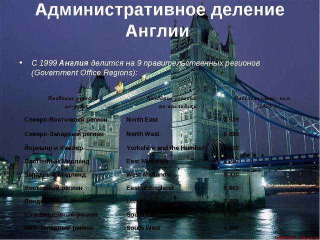 Административное деление Англии С 1999 Англия делится на 9 правительственных...