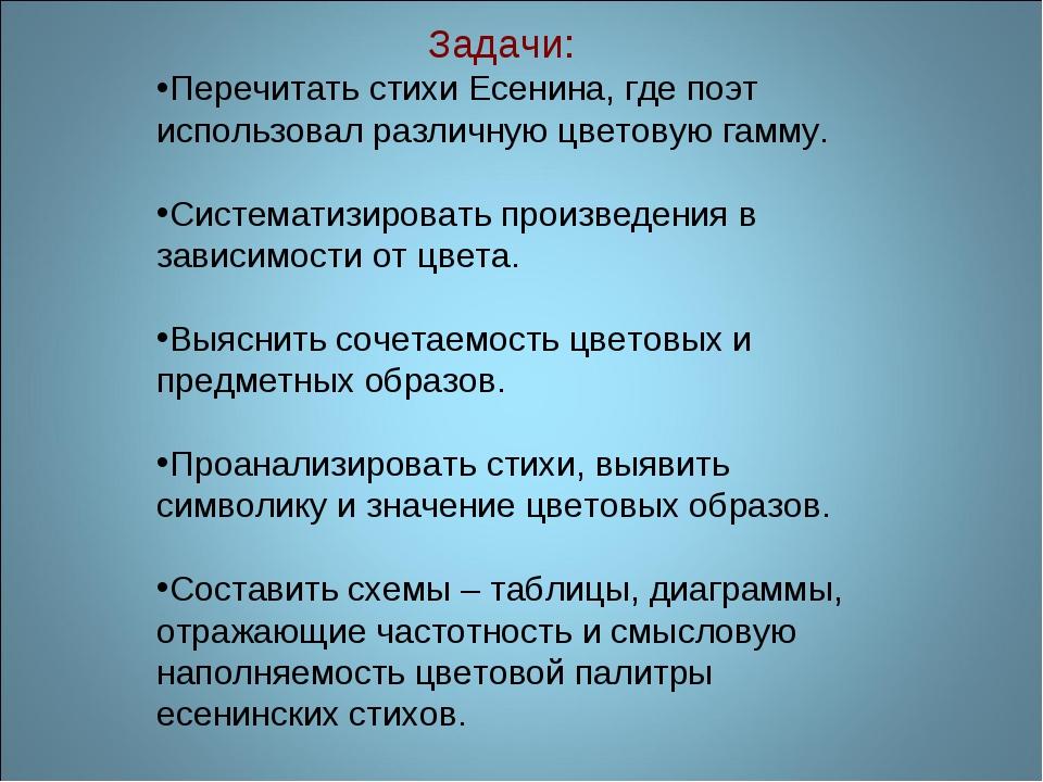 Задачи: Перечитать стихи Есенина, где поэт использовал различную цветовую га...