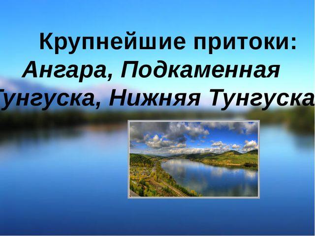 Крупнейшие притоки: Ангара, Подкаменная Тунгуска, Нижняя Тунгуска.