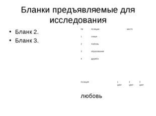 Бланки предъявляемые для исследования Бланк 2. Бланк 3.