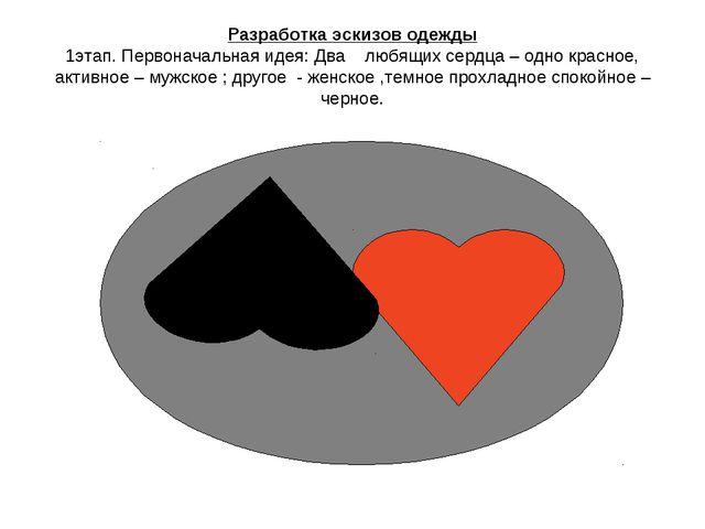 Разработка эскизов одежды 1этап. Первоначальная идея: Два любящих сердца – од...