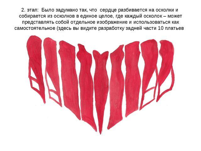 2. этап: Было задумано так, что сердце разбивается на осколки и собирается из...
