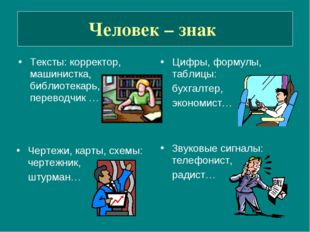 Человек – знак Тексты: корректор, машинистка, библиотекарь, переводчик … Цифр