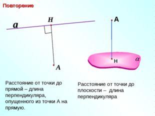 Расстояние от точки до прямой – длина перпендикуляра, опущенного из точки А н
