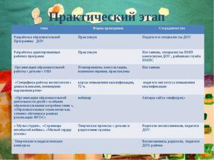 Практический этап тема Форма проведения Сотрудничество Разработка образовател