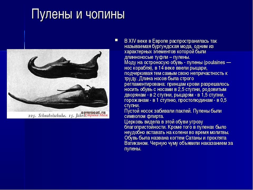 Пулены и чопины В XIV веке в Европе распространилась так называемая бургундск...