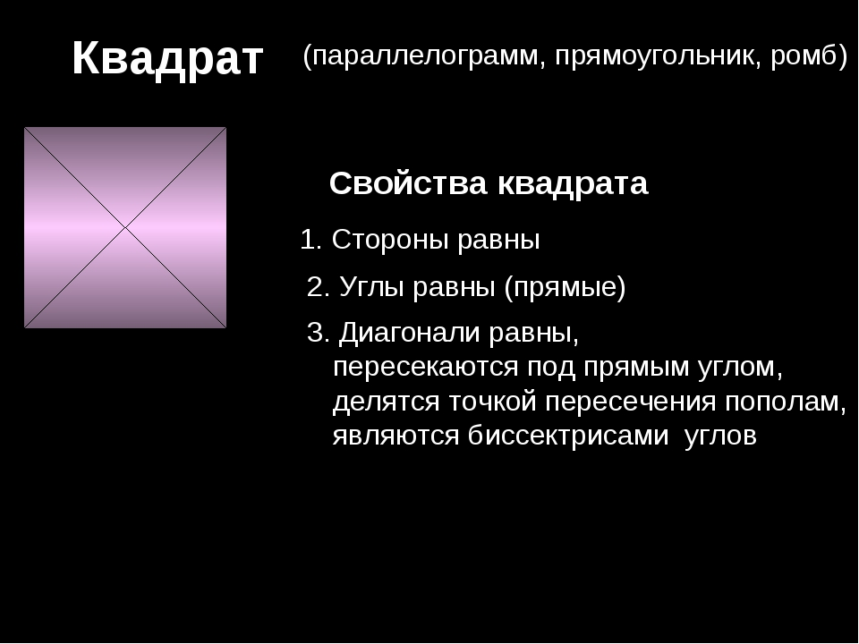Квадрат (параллелограмм, прямоугольник, ромб) Свойства квадрата 1. Стороны ра...