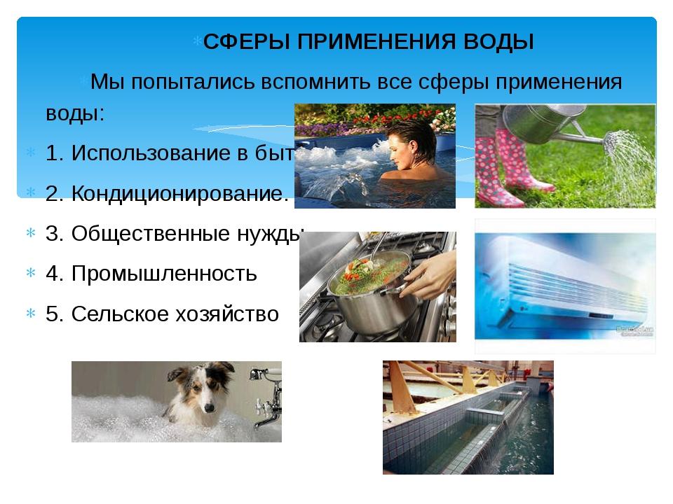 СФЕРЫ ПРИМЕНЕНИЯ ВОДЫ Мы попытались вспомнить все сферы применения воды: 1. И...