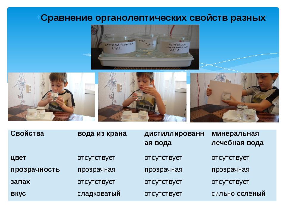 Сравнение органолептических свойств разных проб воды. Свойства вода из крана...