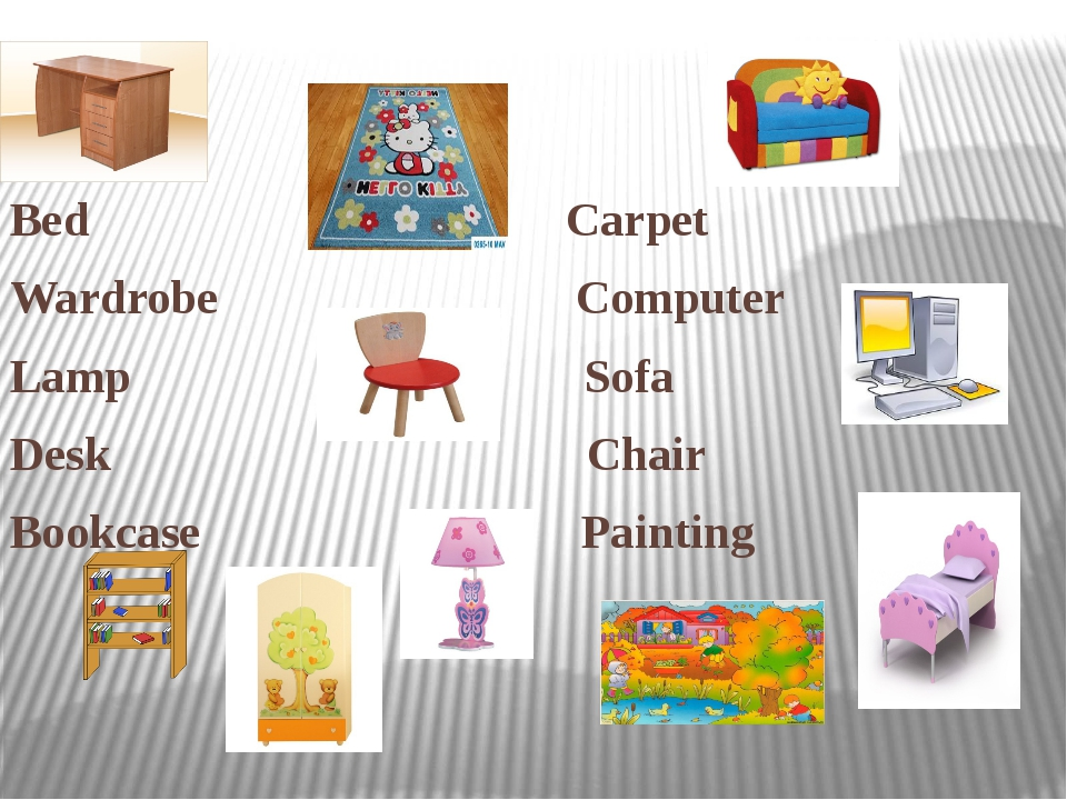 Bed Carpet Wardrobe Computer Lamp Sofa Desk Chair Bookcase Painting