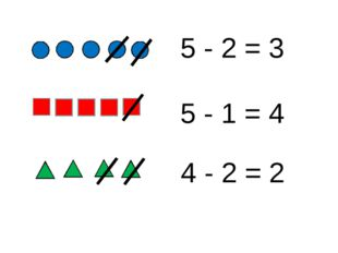 - = - = - = 5 - 2 = 3 5 - 1 = 4 4 - 2 = 2