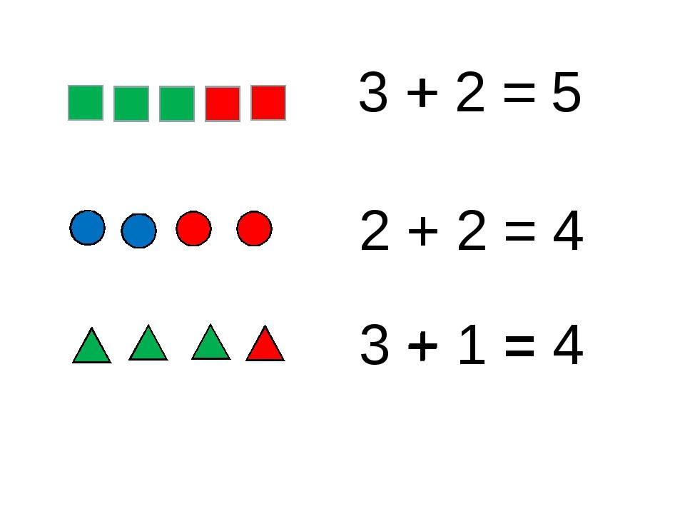 3 + 2 = 5 + = 2 + 2 = 4 3 + 1 = 4 + = + =