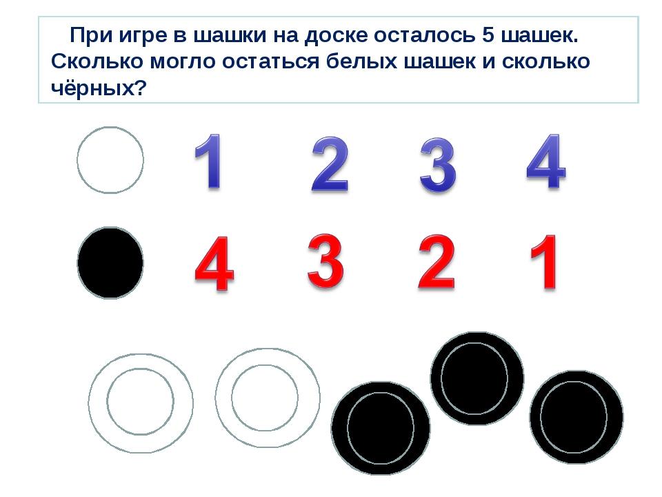При игре в шашки на доске осталось 5 шашек. Сколько могло остаться белых шаш...