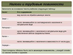 Налоги и трудовые повинности Заполните на основании текста учебника следующую