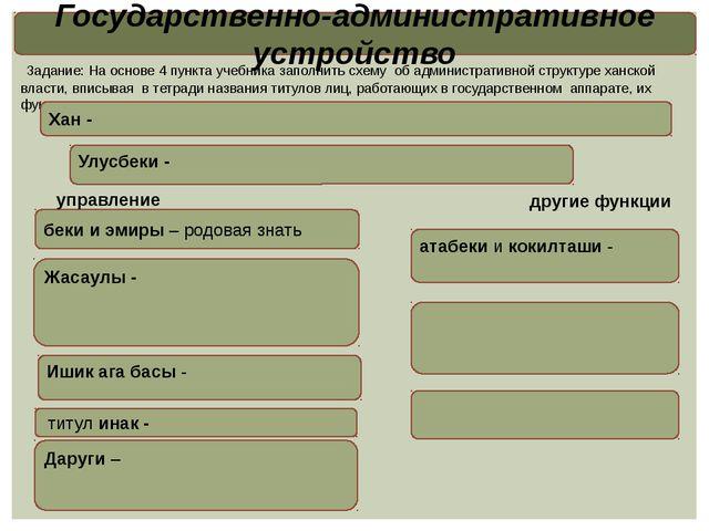Государственно-административное устройство Задание: На основе 4 пункта учебни...