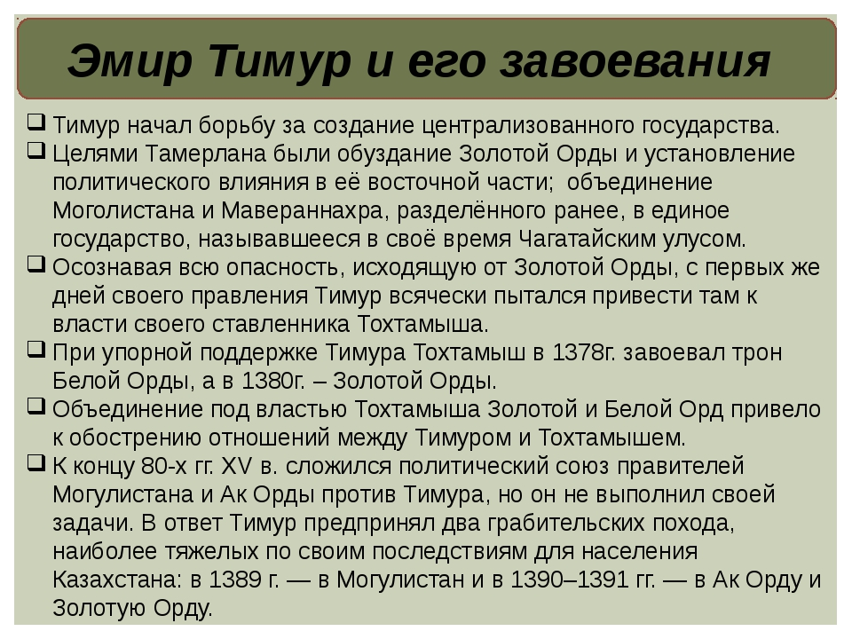 Эмир Тимур и его завоевания Тимур начал борьбу за создание централизованного...
