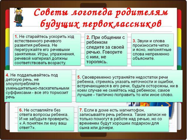Советы логопеда родителям будущих первоклассников