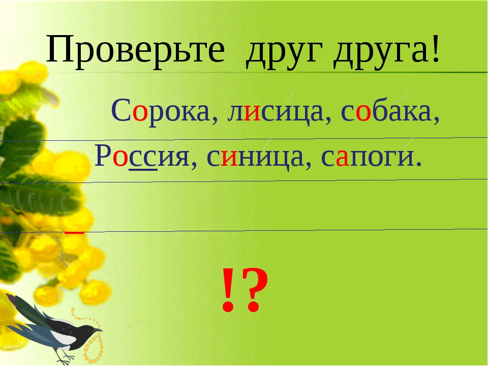 Проверьте друг друга! Сорока, лисица, собака, Россия, синица, сапоги. !?