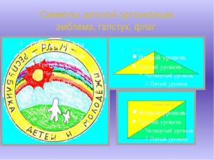 Символы детской организации эмблема, галстук, флаг.