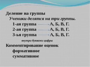 Деление на группы Ученики делятся на три группы. 1-ая группа А, Б, В, Г. 2-а