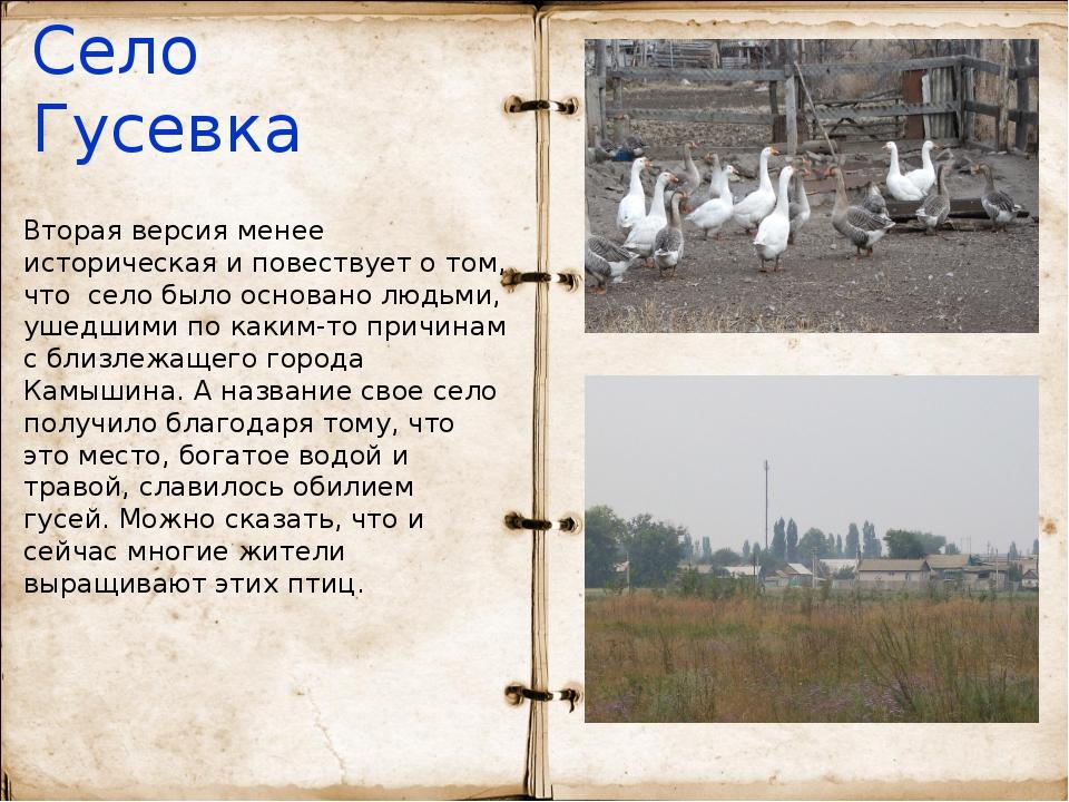 Село Гусевка Вторая версия менее историческая и повествует о том, что село бы...