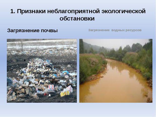 1. Признаки неблагоприятной экологической обстановки Загрязнение почвы Загряз...