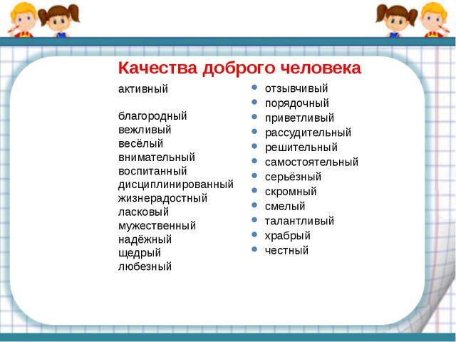 активный благородный вежливый весёлый внимательный воспитанный дисциплинирова...