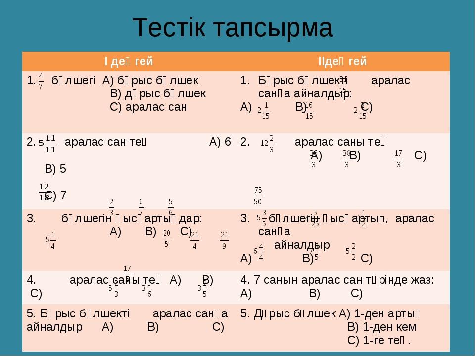 Тестік тапсырма І деңгейІІдеңгей бөлшегі А) бұрыс бөлшек В) дұрыс бөлшек С)...