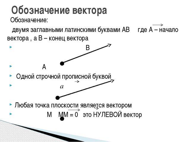 Обозначение: двумя заглавными латинскими буквами АВ где А – начало вектора ,...