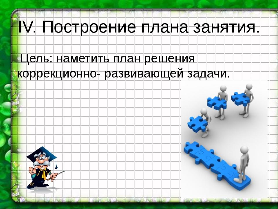 IV. Построение плана занятия. Цель: наметить план решения коррекционно- разви...