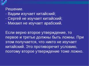 Решение. - Вадим изучает китайский; - Сергей не изучает китайский; - Михаил н