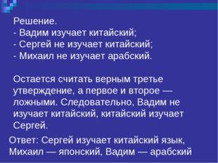 Решение. - Вадим изучает китайский; - Сергей не изучает китайский; - Михаил